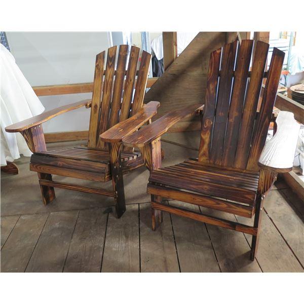 "Qty 2 Adirondack Chairs 30""x19""x35""Ht."