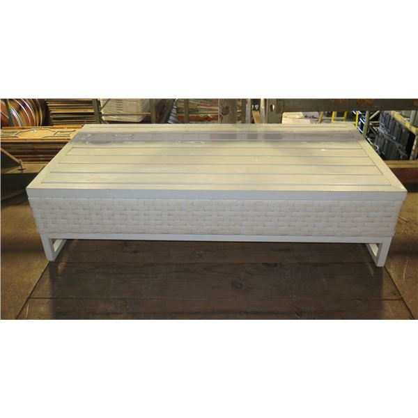 """White Wood & Woven Coffee Table 48""""x24""""x13""""H"""