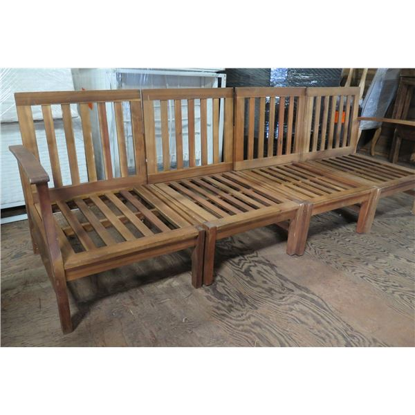 """Teak Wood Modular 4 Seat Sectional Couch Frame 26""""x24""""x33""""H each"""