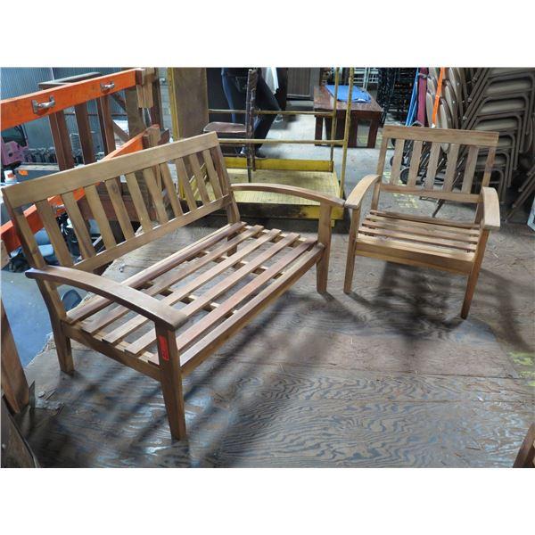 "Teak Wood Modular Loveseat Couch Frame 51""x25""x32""H & Armchair 28""x23""x30""H"
