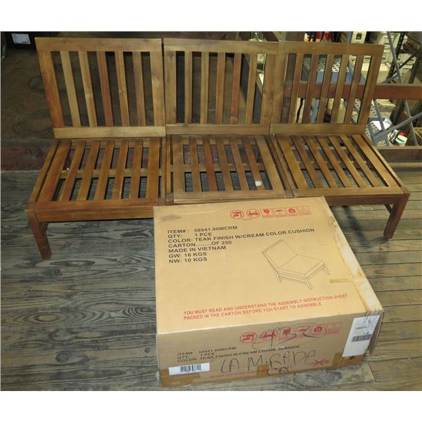 "Teak Wood Modular 3 Seat Sectional Couch Frame 24""x24""x33""H each w/ Box Cushion"
