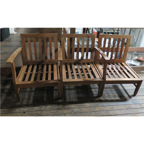 """Teak Wood Modular 3 Seat Sectional Couch Frame w/ Right Arm Rest 25""""x24""""x33""""H each"""