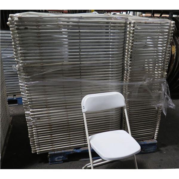 "Qty 150 White Metal Folding Chairs 15""x15""x36""H"