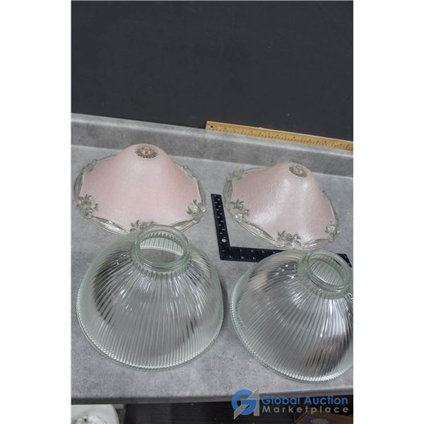 (2) Vintage Pairs of Glass Light Shades