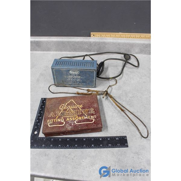 Vintage Battery Elimator, Hanger, Fittings Case
