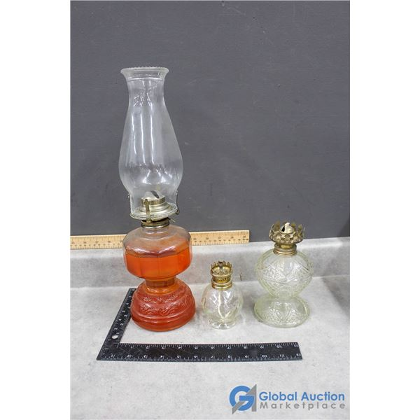 (3) Glass Oil Lamps