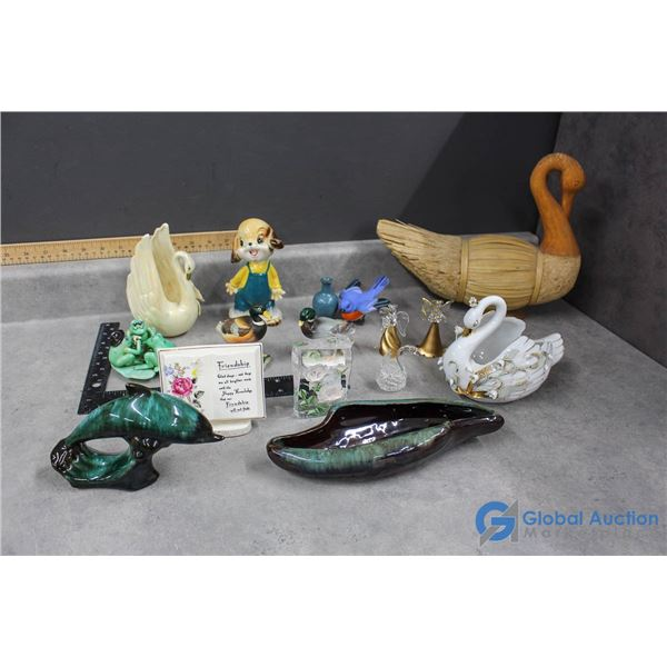 Assorted Decor - Swans, Ducks, Frogs, Blue Mountain Pottery