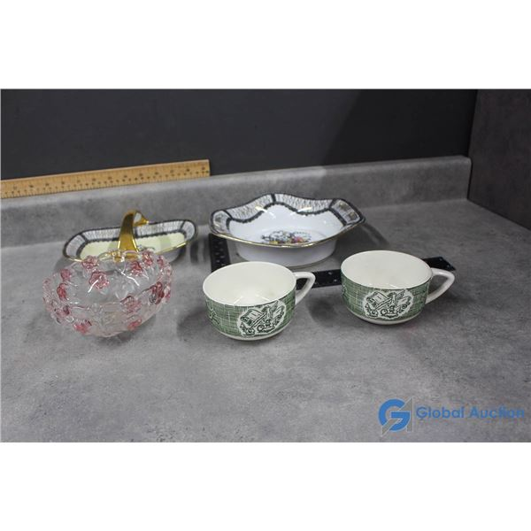 (2) Noritake Dishes, Glass Candy Dish & (2) Cups