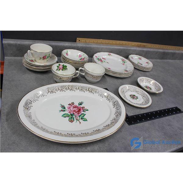 "Johnson Bros ""Old Chelsa"" England Dishes & Georgian China Gold Dishes"