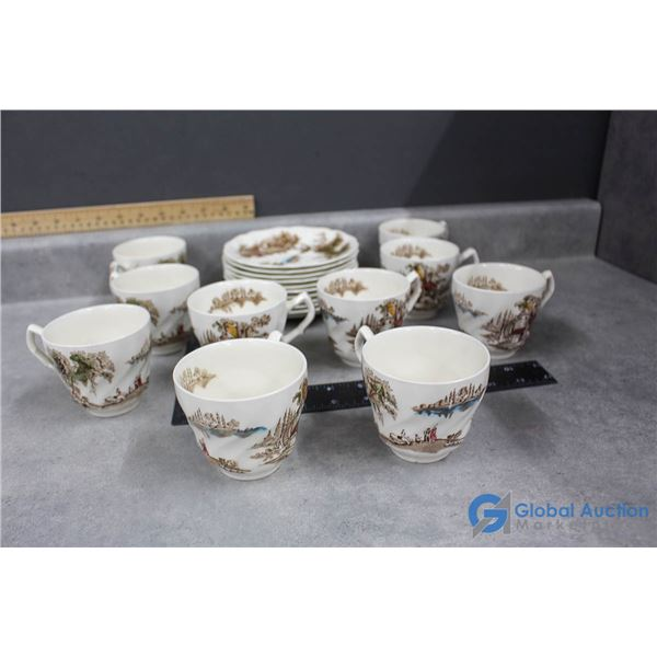 """Johnson Bros """"The Old Mill"""" Made in England Set of 10 Tea Cup & Saucers"""