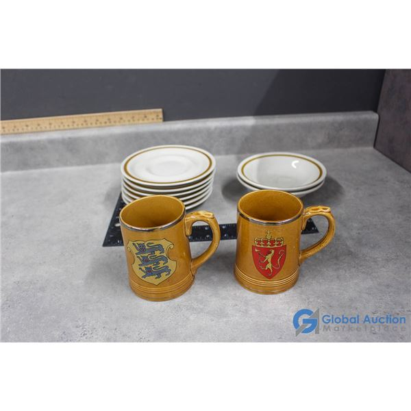Mountain Wood Collection Stoneware Japan & (2) Coat of Arms Cups