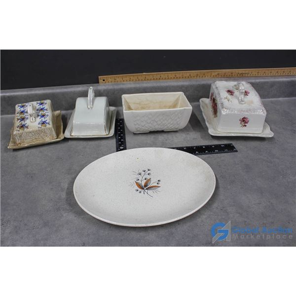 Assorted Cheese Serving Dishes & Platter