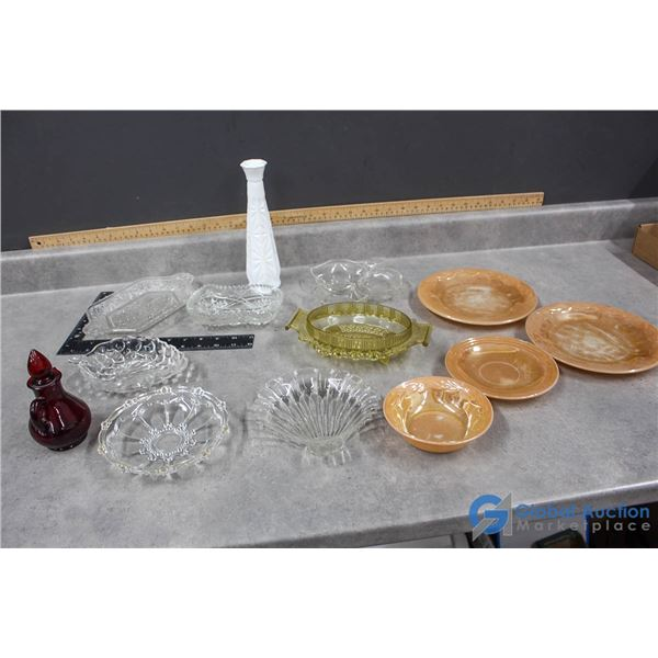 Assorted Serving/Candy Glass Dishes & Vase