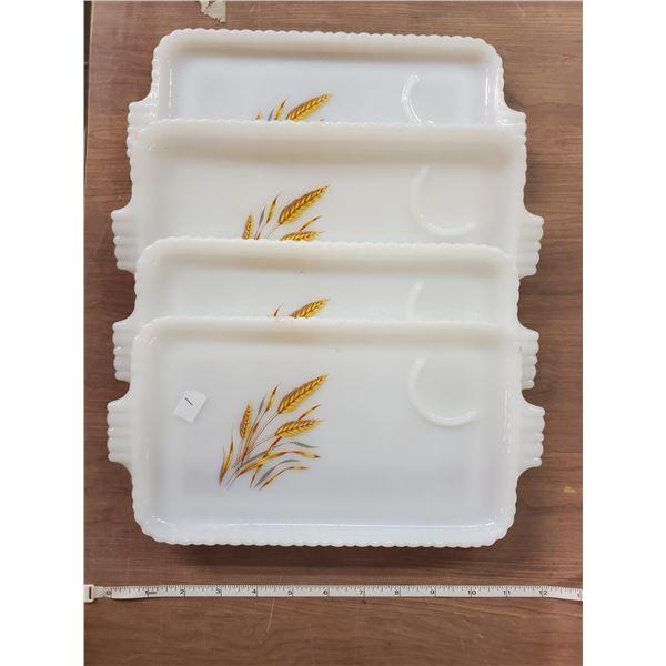 "11"" X 6"" Vintage Fireking sandwich plates X4"