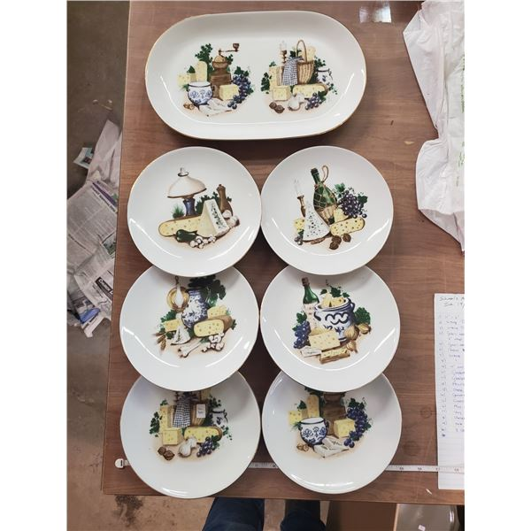 Cheese platter set 6 plates & tray