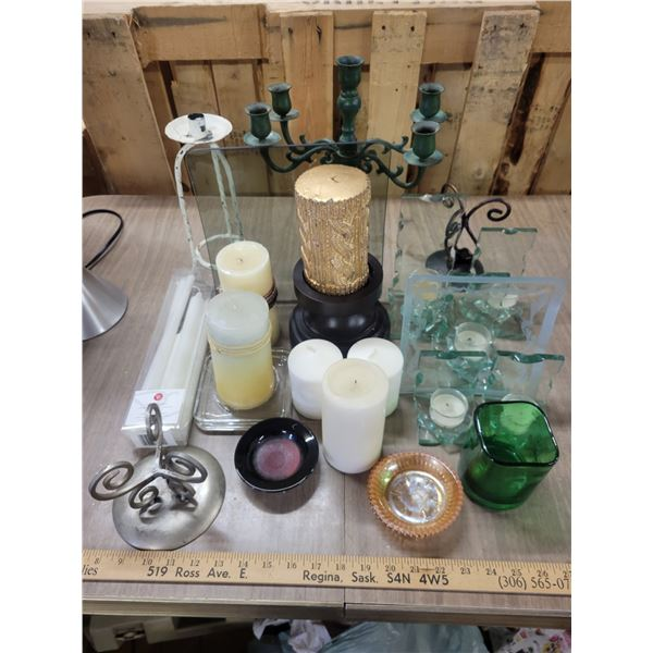 Giant candle & accessories lot
