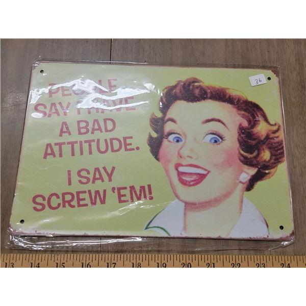 Tin sign - Bad Attitude