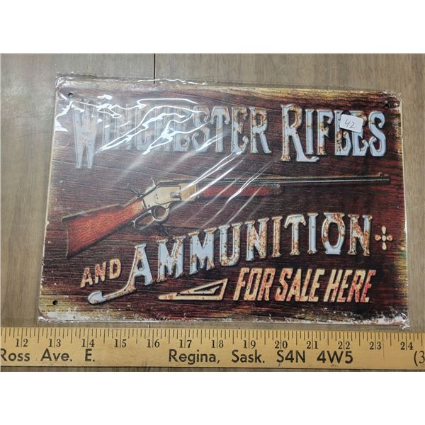 Tin sign Winchester rifles
