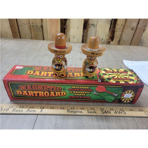 Magnetic dart board & Mexican salt & pepper shakers