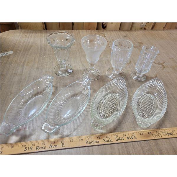 1 lot 8 assorted antique parfait glasses & dishes