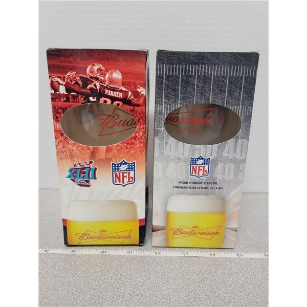 2 NFL Budweiser glasses