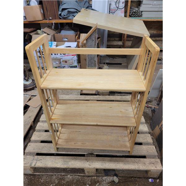 fold down solid wood shelving unit