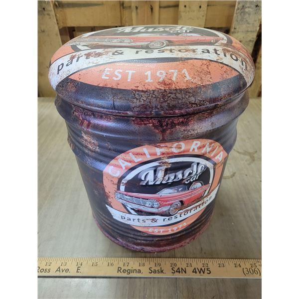 muscle car tin stool/storage bin