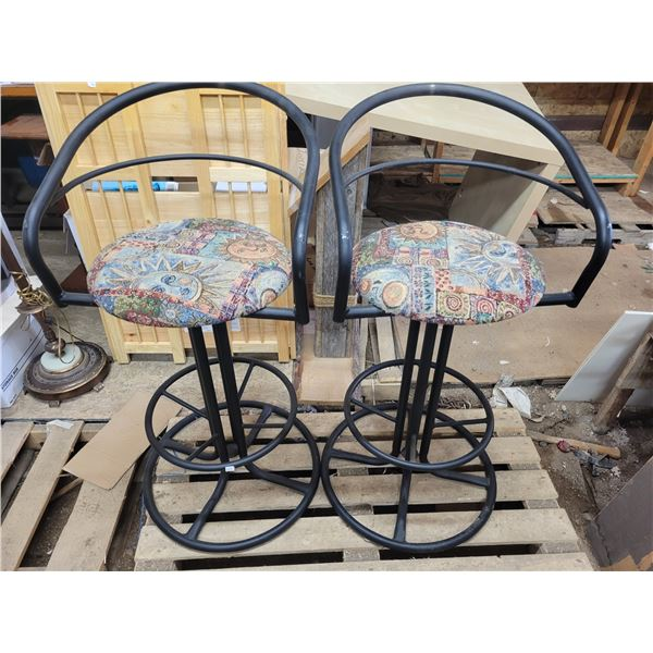 2 bar height swivel stools with cushioned seats and back rests, metal - solid