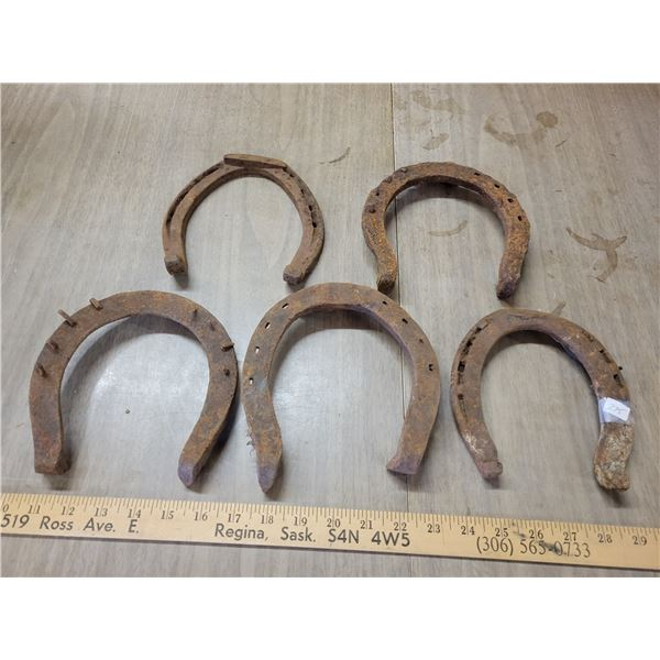 5 antique draft horse shoes