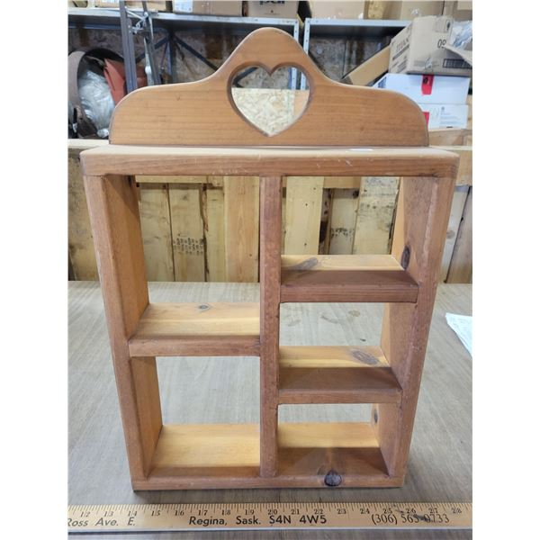 Decorative wooden knick-knack shelf