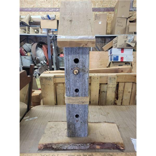 Hand crafted barn board & live edge spruce bird house
