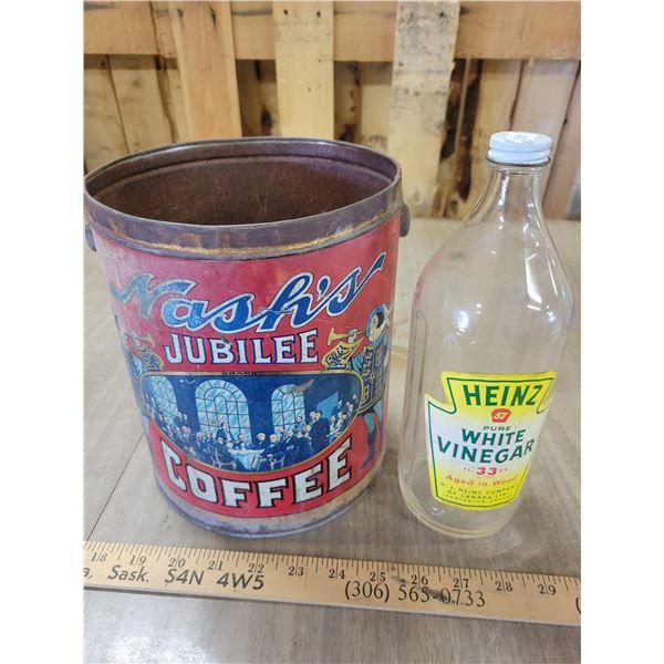 White Vinegar & Nash's coffee tin