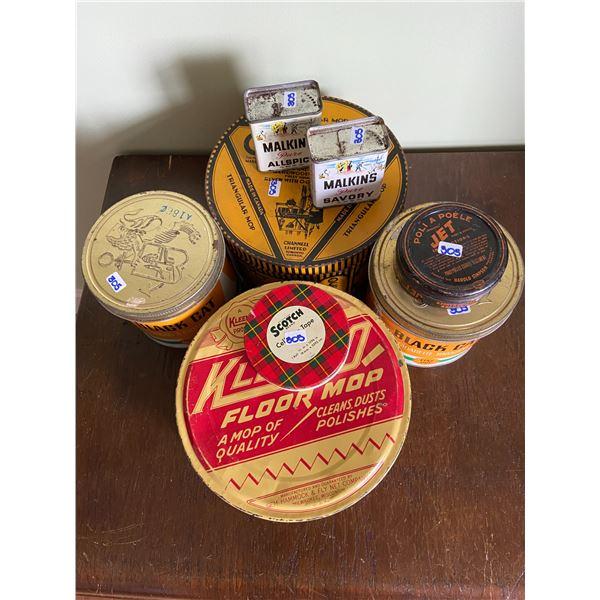 8 vintage tins