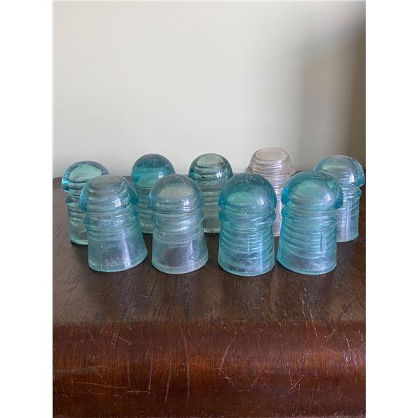9 Glass insulators, blue & white