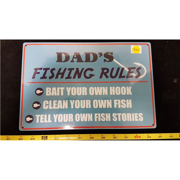 Dad's Fishing Rules Sign