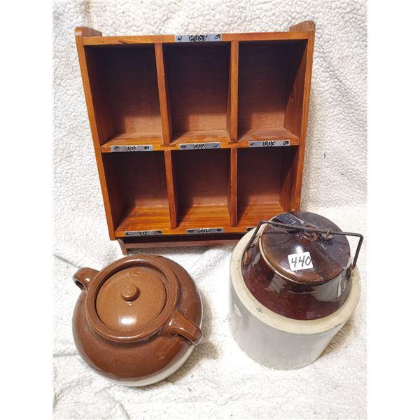 Bean Pot, Pickel Jar, Wooden Stand