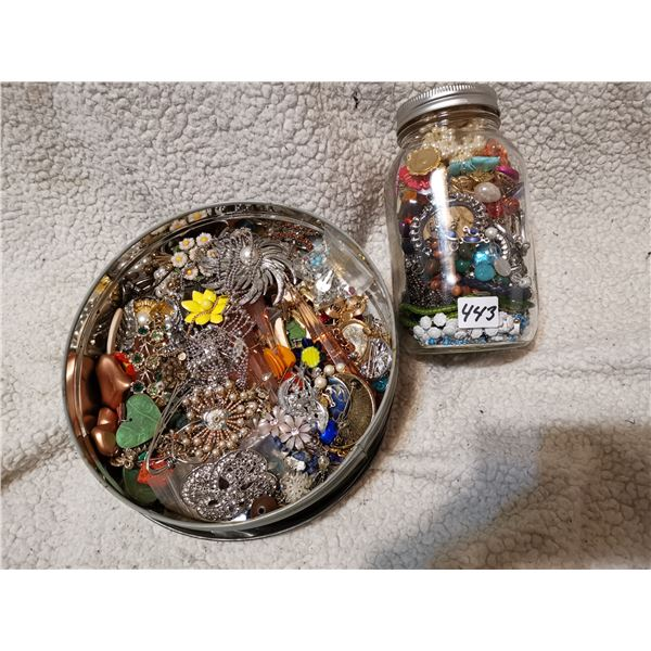 Jar and Tin Full of Jewelry, Repair, Some Good, As Is
