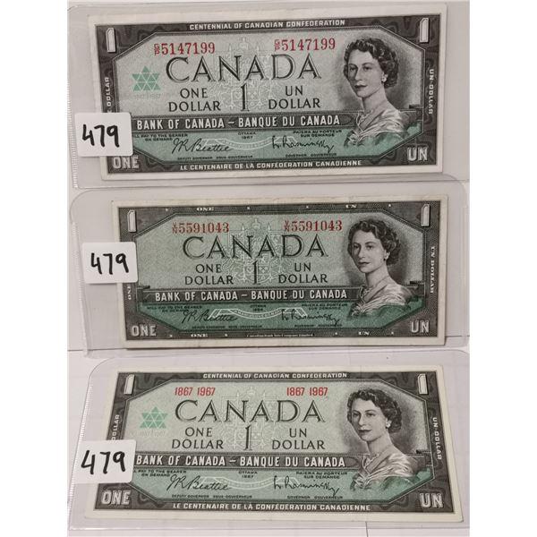 3 Different $1 Bills, 2×1967, 1×1954