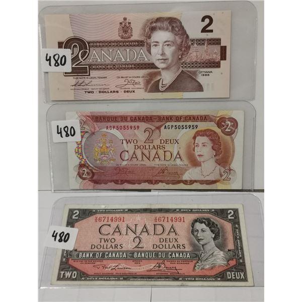 3 Different $2 Bills, 1954, '78, '86