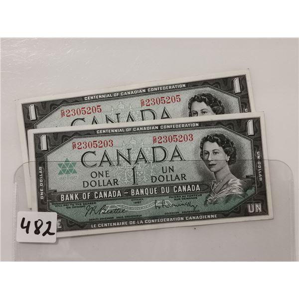 Two 1967 Serial Number Bills, AV