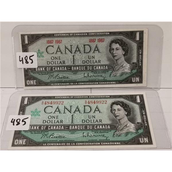 1967 $1 Bills, serial # and no serial #
