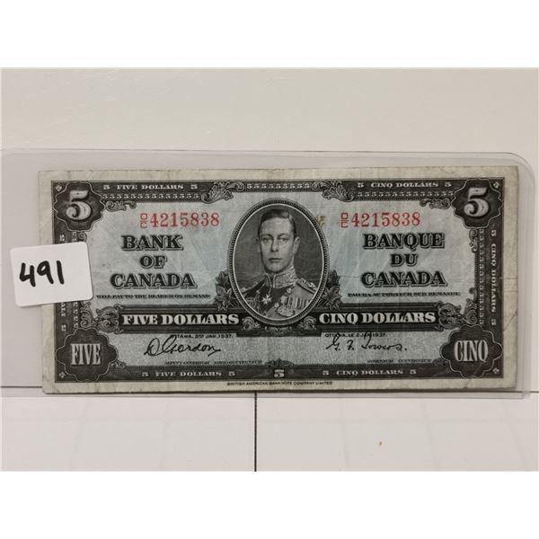 1937 $5 Bill, Gordon/Towers