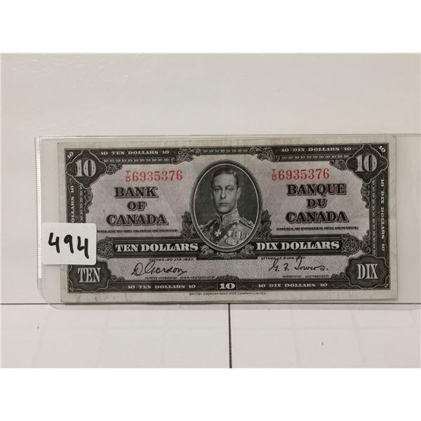 1937 $10 Bill, Gordon/Towers