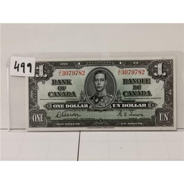 1937 AV+ $1 Bill, Gordon/Towers, Nice