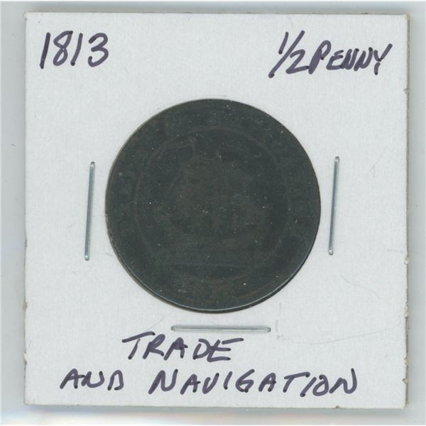 1813 Trade and Navigation ½ Penny