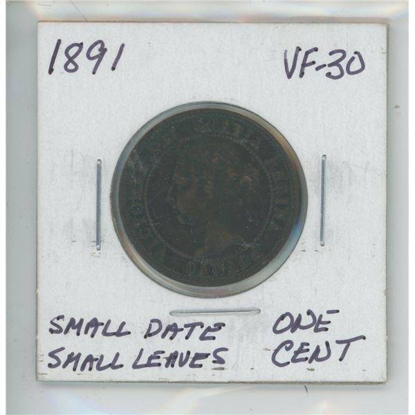 1891 Small Date, Dsmall Leaves - Double Punched D + A in Canada