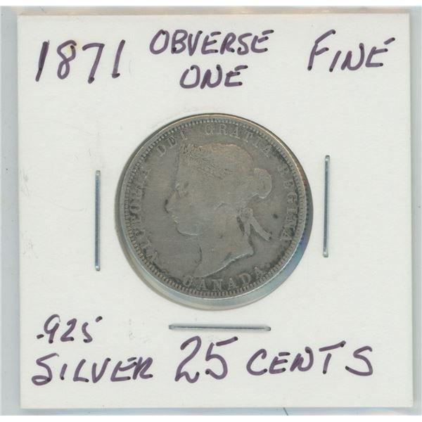 1871 Rare Obverse One Victoria 25 Cents
