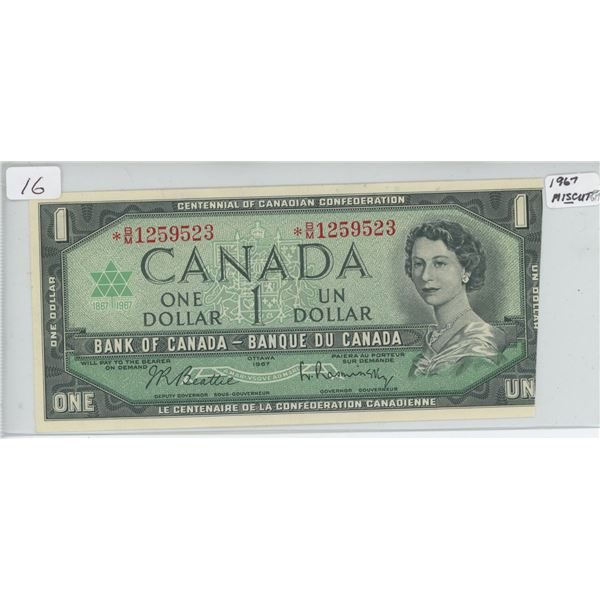 1967 Miscut Replacement One Dollar Bill