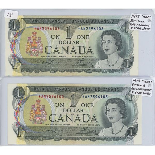 1973 Two Consecutive *Star Replacement $1 Bills