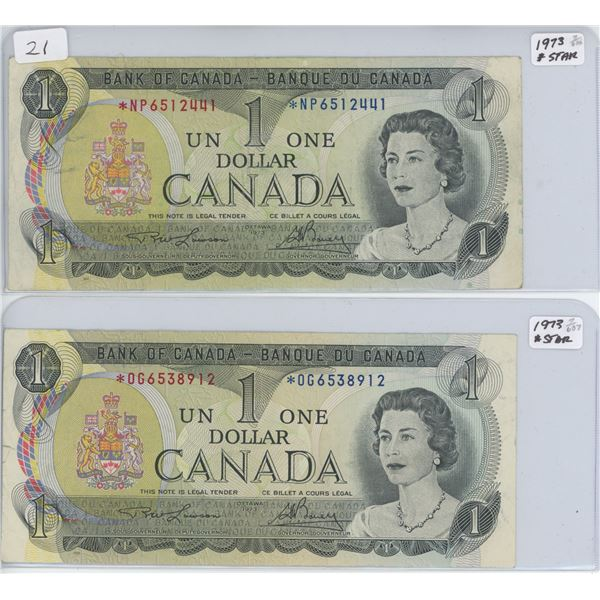 Lot of 2 - 1973 *Star Replacement $1 bills
